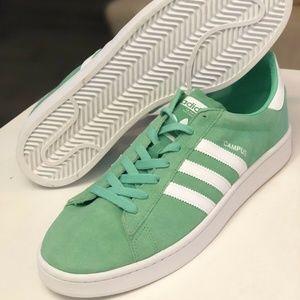 New Adidas Mens Originals Campus Sneakers Green Gl